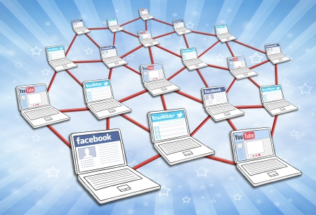 Network of computers with social media interaction. Editorial