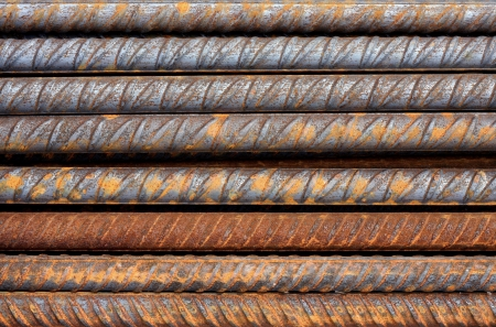 Thick rusty rebar rods metallic pattern Stock Photo