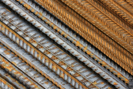 Abstract metal texture pattern of rusty rebars  Diagonal Stock Photo - 14966312