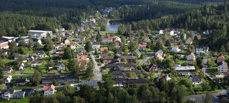 neighbourhood: Small town neighbourhood bird view. Real estate close to nature with clean air. Stock Photo