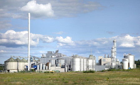 Ethanol facility producing biofuel from organic crops.