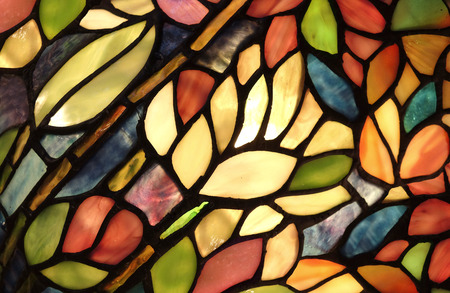 interior window: Glass art with backlit pattern in vibrant colors