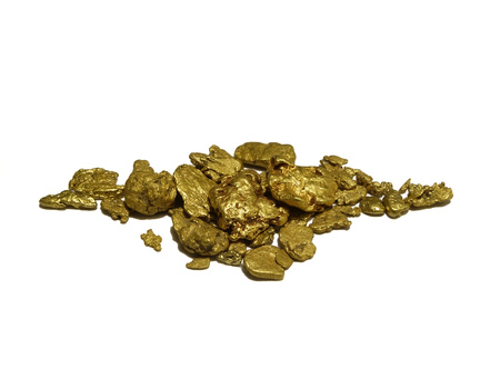 Natural authentic gold nuggets from Western Australia. Isolated on white, concept for gold, treasure, wealth, prospecting and more.