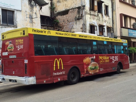 Bus with McDonalds ad in Malaysia