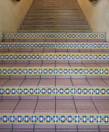 tile: Stairs with tile flooring Stock Photo