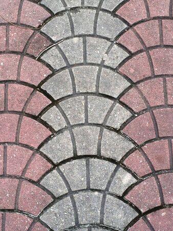 Red and grey bricks floor pattern