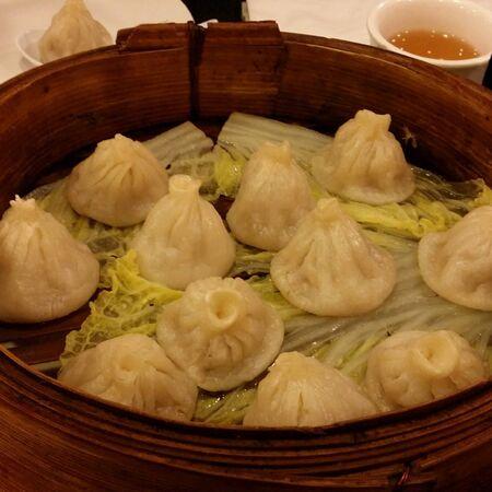 Steam pork dumplings Banco de Imagens