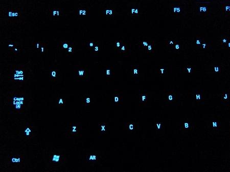 Blue backlighted keys in darkroom