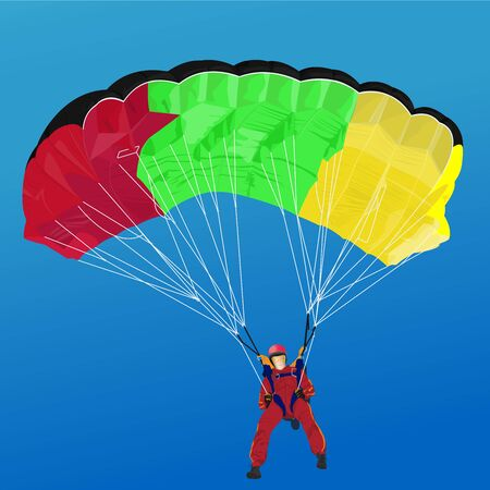 extreme sports, skydiver soars high in the blue sky Illustration