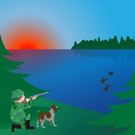 hunting with a dog in the early morning on the lake