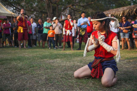 asian warrior: Wai Kru Ceremony on Muay Thai Festival in The Wat Phutthaisawan at Ayutthaya old city,Thailand.