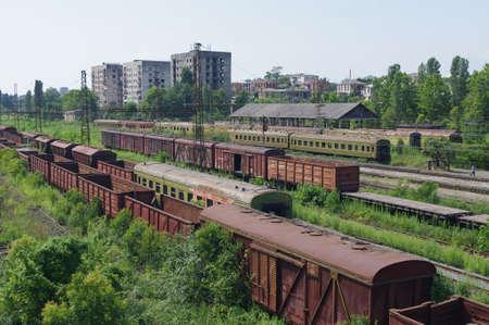 The rusty trains abandoned on railway tracks