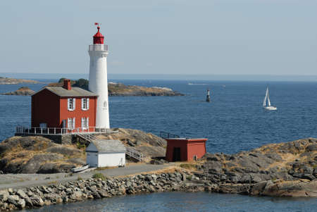 romanticism: beautiful lighthouse on the rocks, Vancouver Island, Canada