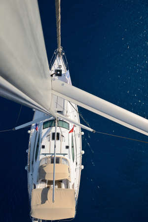 view from the mast on a sailing yacht photo