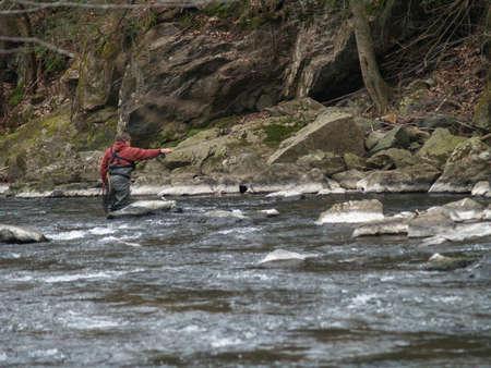 fly fishing in stream