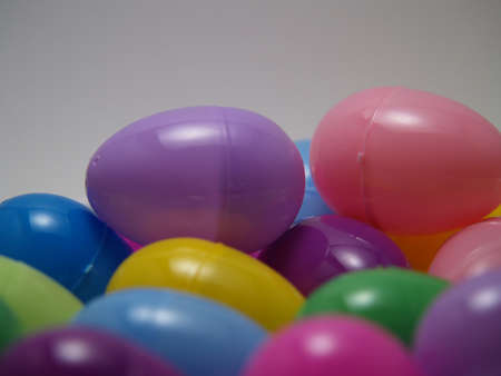 close up of colored easter eggs photo