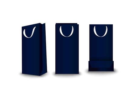 Shopping Bags paper, set. Place for logo insertion, branding, mockups Vector illustration Illustration