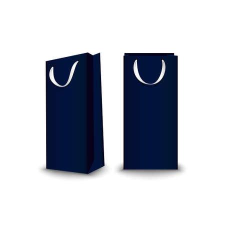 Shopping Bags paper, set. Place for logo insertion, branding, mockups Vector illustration 일러스트