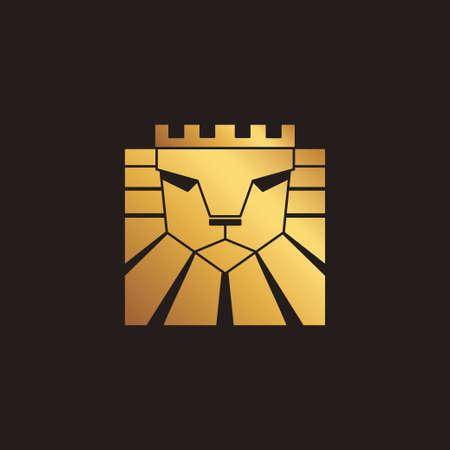 Lion logo. Lion head with crown - vector illustration, emblem design. Universal company symbol. Heraldic premium logo icon sign.