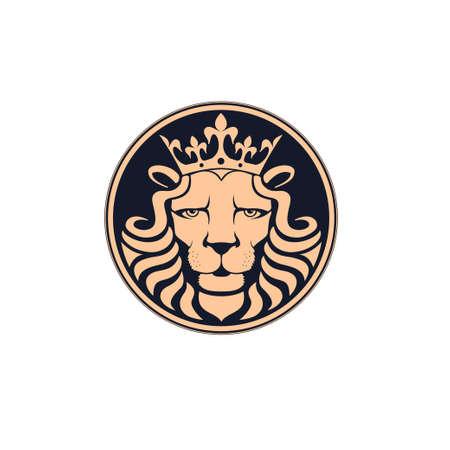 Lion logo. Lion head with crown - vector illustration, emblem design. Universal company symbol. Heraldic premium logo icon sign. Illustration