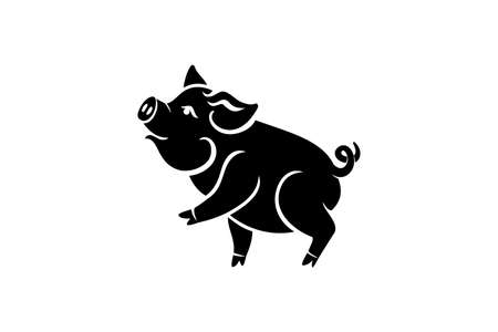 Pig is a symbol of the 2019 Chinese year. Greeting card, poster. Vector illustration.