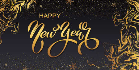 Happy new year banner. Vector illustration of a happy new year in gold and black colors. Beautiful inscription. Background for the holiday