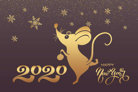 2020 Chinese New Year. Symbol of the year rat or mouse. Holiday concept - postcard or banner. Vector illustration
