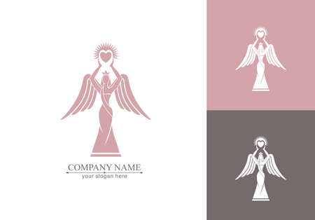 Logo of a woman with wings holding a heart in the hands with rays. Kindness and mercy. Figurine for presentation, template of a beauty contest.