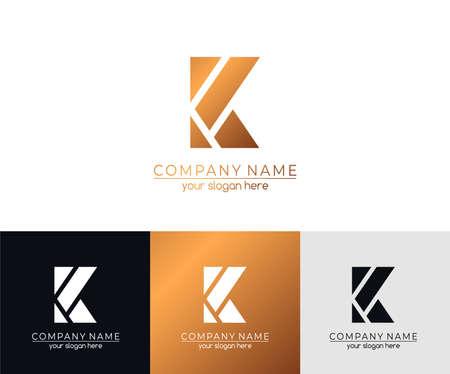 Logotipo o monograma de la letra K. en blanco para tarjetas de visita. Para tu negocio.