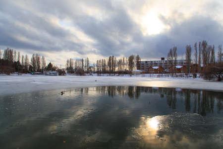 Sanatorium Aurora, Kyrgyzstan - January 4. 2020 Winter frozen lake