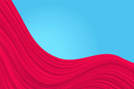Red background. Abstract illustration of a fabric or liquid wave. Background for design. Vector luxury silk and wave texture. Blue base.