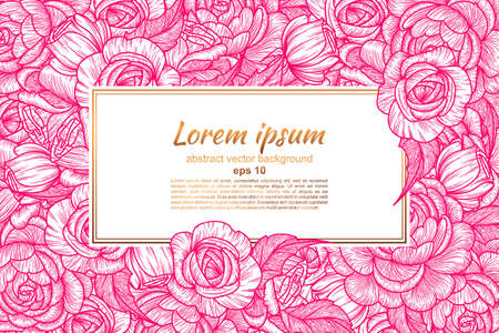 Card with flowers of roses. Floral pattern and place for text insertion. Greeting card or wedding invitation. vector illustration