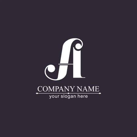 A letter monogram. Elegant luxury logo. Calligraphic style. Corporate identity and personal logo. Vector design. Luxurious linear creative monogram.