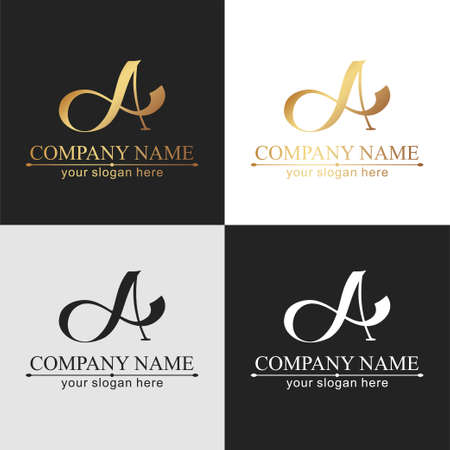 A letter monogram. Elegant luxury logo. Calligraphic style. Corporate identity and personal logo. Vector design. Luxurious linear creative monogram.