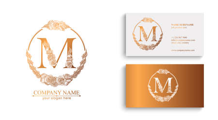 Letter M logo or monogram. For your business. Vector sign. Floral style, roses. Personal logo.