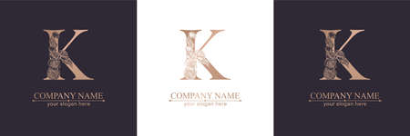 Letter K logo or monogram. For your business. Vector sign. Floral style, roses. Personal logo.