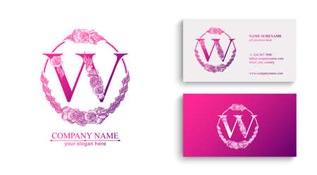Letter W logo or monogram. For your business. Vector sign. Floral style, roses. Personal logo. Ilustracja