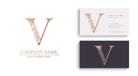 Letter V logo or monogram. For your business. Vector sign. Floral style, roses. Personal logo.