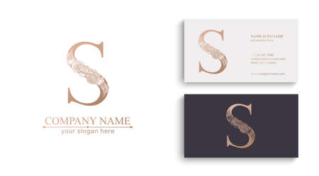 Letter S logo or monogram. For your business. Vector sign. Floral style, roses. Personal logo.