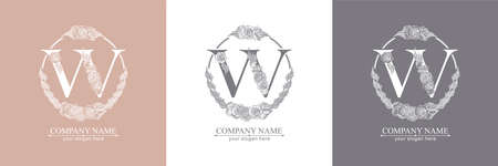 Letter W logo or monogram. For your business. Vector sign. Floral style, roses. Personal logo. Zdjęcie Seryjne