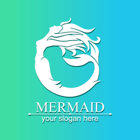 Mermaid logo. Brand template vector illustration. Siren and marine girl with a tail. Logo for the salon