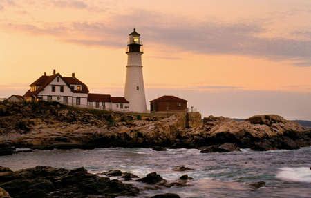 guiding light: Portland Head Lighthouse is the oldest beacon in Maine  Stock Photo