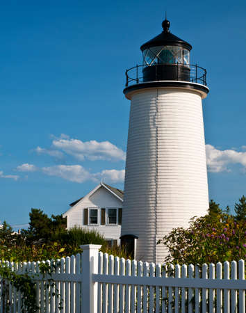 plum island: Newburyport Harbor Lighthouse, also referred to as Plum Island Lighthouse, was originally part of two lighthouses or range lights on Plum Island   Stock Photo