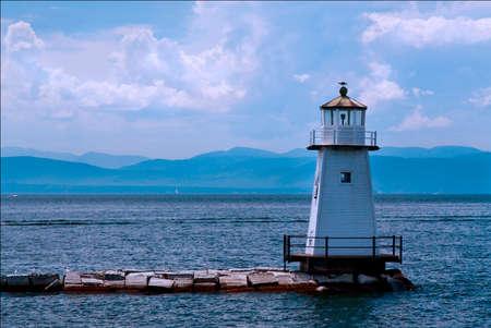 breakwater: Burlington Breakwater North Lighthouse guides mariners around Vermont