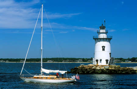 lighthouses: Sailing past Saybrook Lighthouse in Connecticut