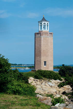 guiding light: Avery Point lighthouse was the last lighthouse to be built in 1943 and is situated on the University of Connecticut campus. Stock Photo