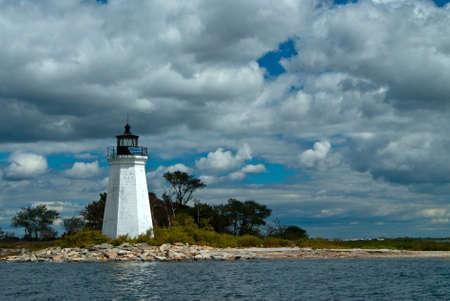 ブラック石港灯台、Fayerweather 島の灯台とも呼ばれますがあった女性の灯台守、キャサリン ・ ムーアは、105 歳まで生きた。 写真素材