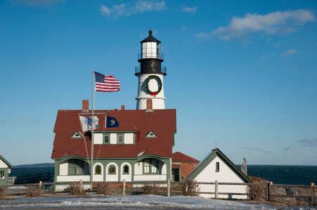 windy day: Portland Head Lighthouse on a wintry windy day. Stock Photo