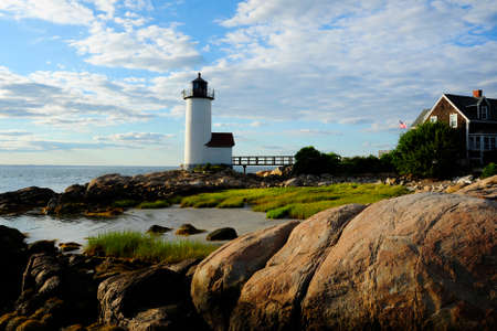 Annisquam lighthouse in late afternoon in Massachusetts.