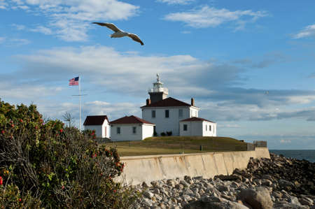Watch Hill Lighthouse on a warm summer evening as seagull flies by. Stock Photo